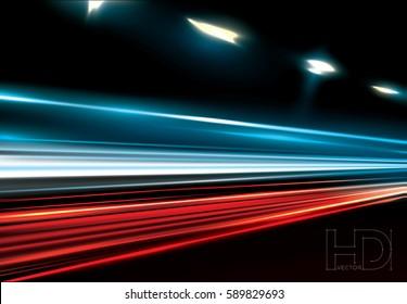 vector simulation of night traffic long exposure.  High definition editable vector