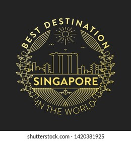 Vector Singapore City Badge, Linear Style