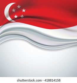 Vector Singapore flag blowing in the wind on white background