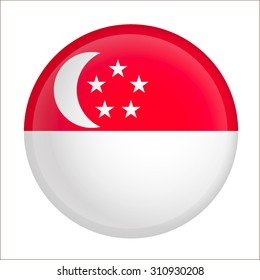 Vector - Singapore Flag Glossy Button