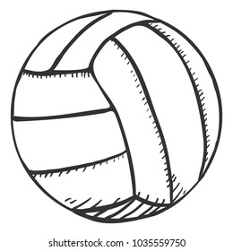 Vector Single Black Pencil Sketch Volleyball Ball