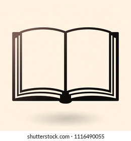 Vector Single Black Silhouette Icon - Open Blank Book