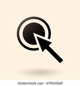 Vector Single Black Silhouette Icon - Arrow and Aim