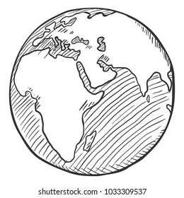 Vector Single Black Sketch Globe Illustration. Planet Earth.