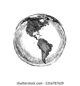 Vector Single Black Sketch Globe Illustration Isolation on White Background. Hand Drawn Planet Earth.