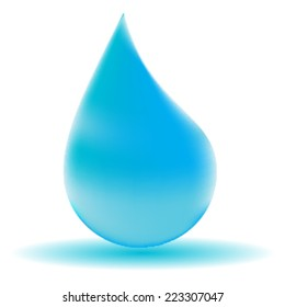 Vector Single Blue Shiny Water Drop Isolated on the White Background . Logo Design .