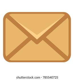 Vector Single Brown Closed Postal Envelope Icon