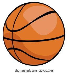 Vector Single Cartoon Basketball Ball