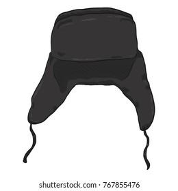 Vector Single Cartoon Black Ear Flapped Hat. Russian Style Headwear.