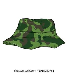 Vector Single Cartoon Camouflage Bucket Hat. Military Style Panama Hat