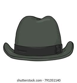 4e822c73dca02 Vector Single Cartoon Classic Gray Homburg Hat. Front View.