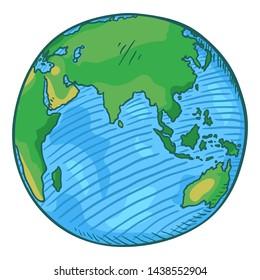 Vector Single Cartoon Color Globe Earth Illustration on Isolated Background