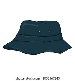 Vector Single Cartoon Dark Blue Bucket Hat. Urban Style Panama Hat