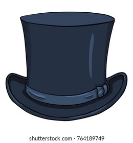Vector Single Cartoon Dark Blue Classic Cylinder Hat