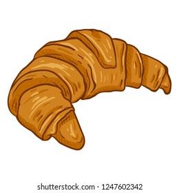 Vector Single Cartoon Illustration - Crusty Fresh Croissant on White Background