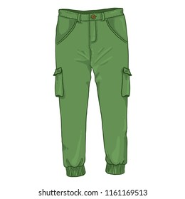 Vector Single Cartoon Illustration - Green Jogger Trousers on White Background