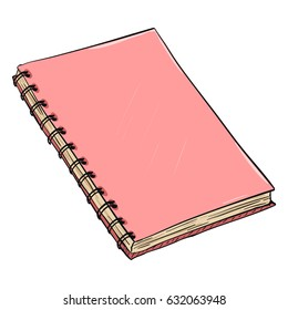 Vector Single Cartoon Pink Spiral Notebook on White Background
