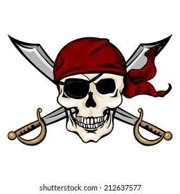 Vector Single Cartoon Pirate Skull in Red Bandana with Cross Swords