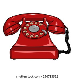 Vector Single Cartoon  Red Old Retro Rotary Telephone