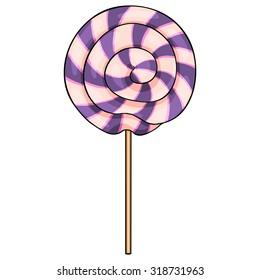 Vector Single Cartoon Swirl Lolipop