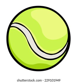Vector Single Cartoon Tennis Ball