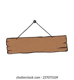 Vector Single Cartoon Wooden Signboard