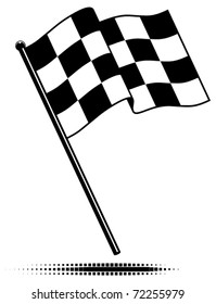 Vector single checkered flag.  Waving flag above the pole. Black and white design (gradient free).  Optional ground shadow.