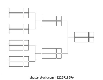 Vector single elimination tournament bracket or tree diagram to the championship in line design isolated on a white background. Fields for 8 players or teams. It is suitable for all kinds of sports.