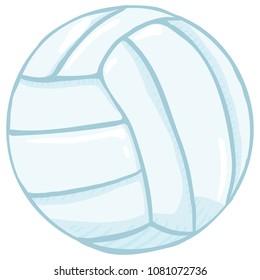 Vector Single Isolated Cartoon Blue Volleyball Ball