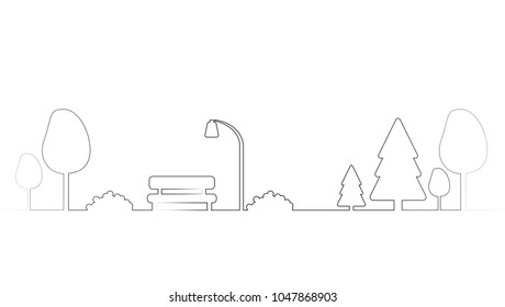 vector single line art of bench under street light in the park with trees. outline nsture illustration