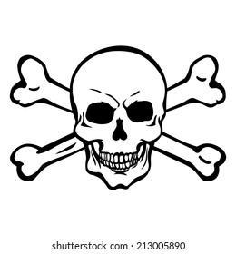Vector Single Lineart Skull with Cross Bones