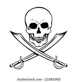 Vector Single Lineart Skull  with Cross Swords
