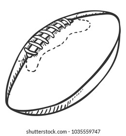 Vector Single Sketch Ball for Rugby. American Football