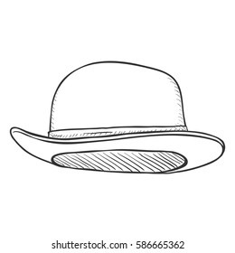 Vector Single Sketch Bowler Hat on White Background