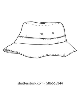 Vector Single Sketch Bucket Hat. Military Style