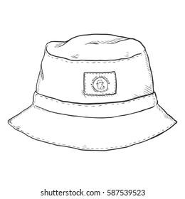 Vector Single Sketch Bucket Hat. Front View. Urban Fashion.