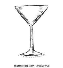 Vector Single Sketch Cocktail Glass