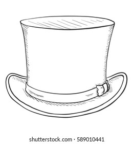 Vector Single SKetch Cylinder Hat on White Background