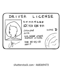 Vector Single Sketch Drivers License