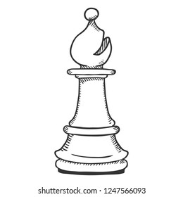 Vector Single Sketch Illustration - Chess Bishop Figure