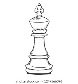 Vector Single Sketch Illustration - Chess King Figure