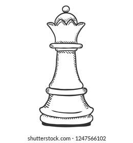 Vector Single Sketch Illustration - Chess Queen Figure