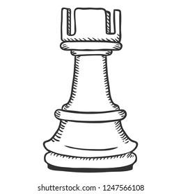 Vector Single Sketch Illustration - Chess Rook Figure