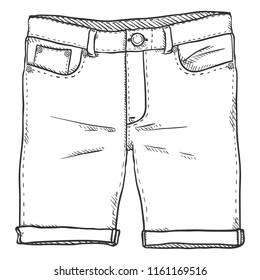 Vector Single Sketch Illustration - Denim Shorts on White Background