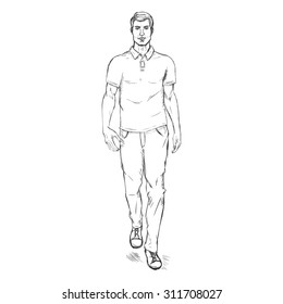 Vector Single Sketch Illustration -  Fashion Male Model in Trousers and Polo Shirt