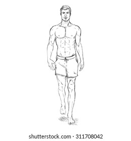 Vector Single Sketch Illustration - Fashion Male Model in Beach Shorts