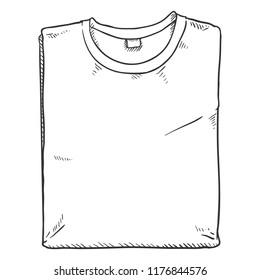 Vector Single Sketch Illustration - Folded T Shirt