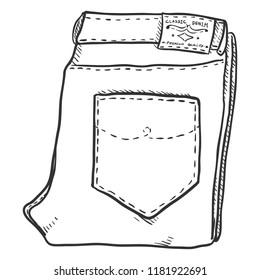 Vector Single Sketch Illustration - Folded Denim Jeans on White Background