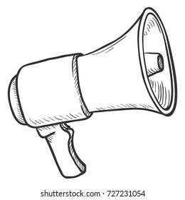 Vector Single Sketch Illustration - Loudspeaker on Isolated White Background. Megaphone Outline Icon.