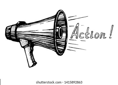 Vector single sketch illustration -Megaphone Icon loudspeaker hand drawn engraving imitation  on isolated white background. Director shout - Camera! Action!